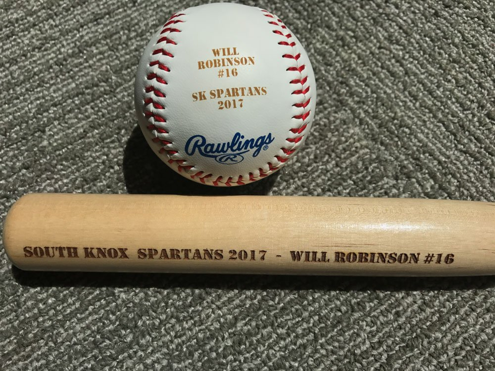 Laser Engraved Baseball and Mini Baseball Bat