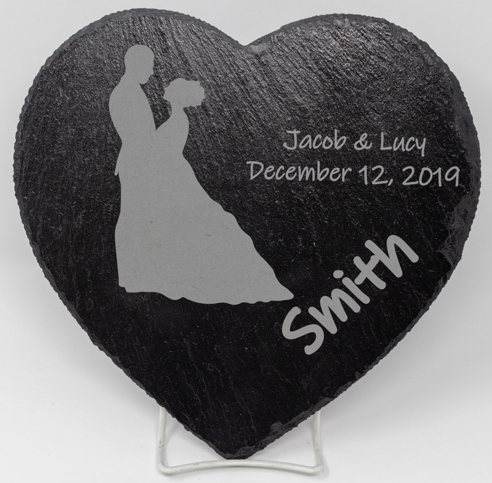 Laser Engraved Personalized Heart shaped Slate Plate