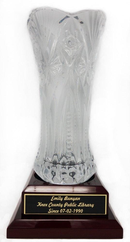 Laser Engraved Crystal Vase Award