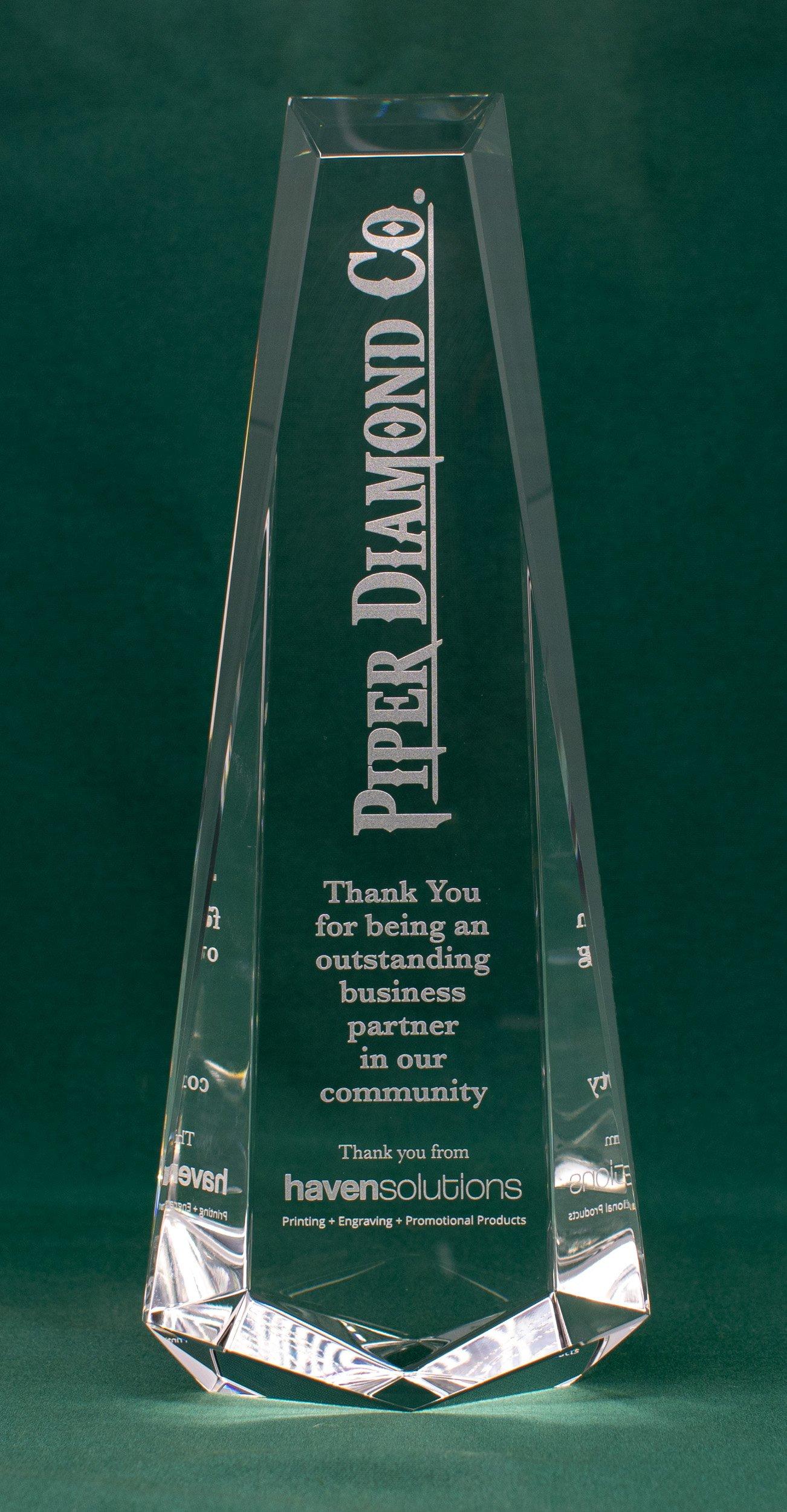 Crystal Spire Laser Engraved Award