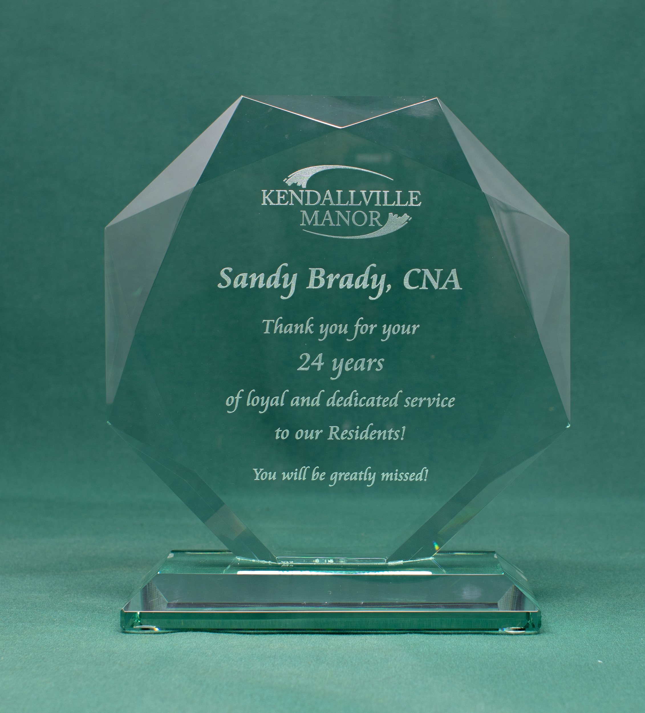 Laser Engraved Jade Glass Award