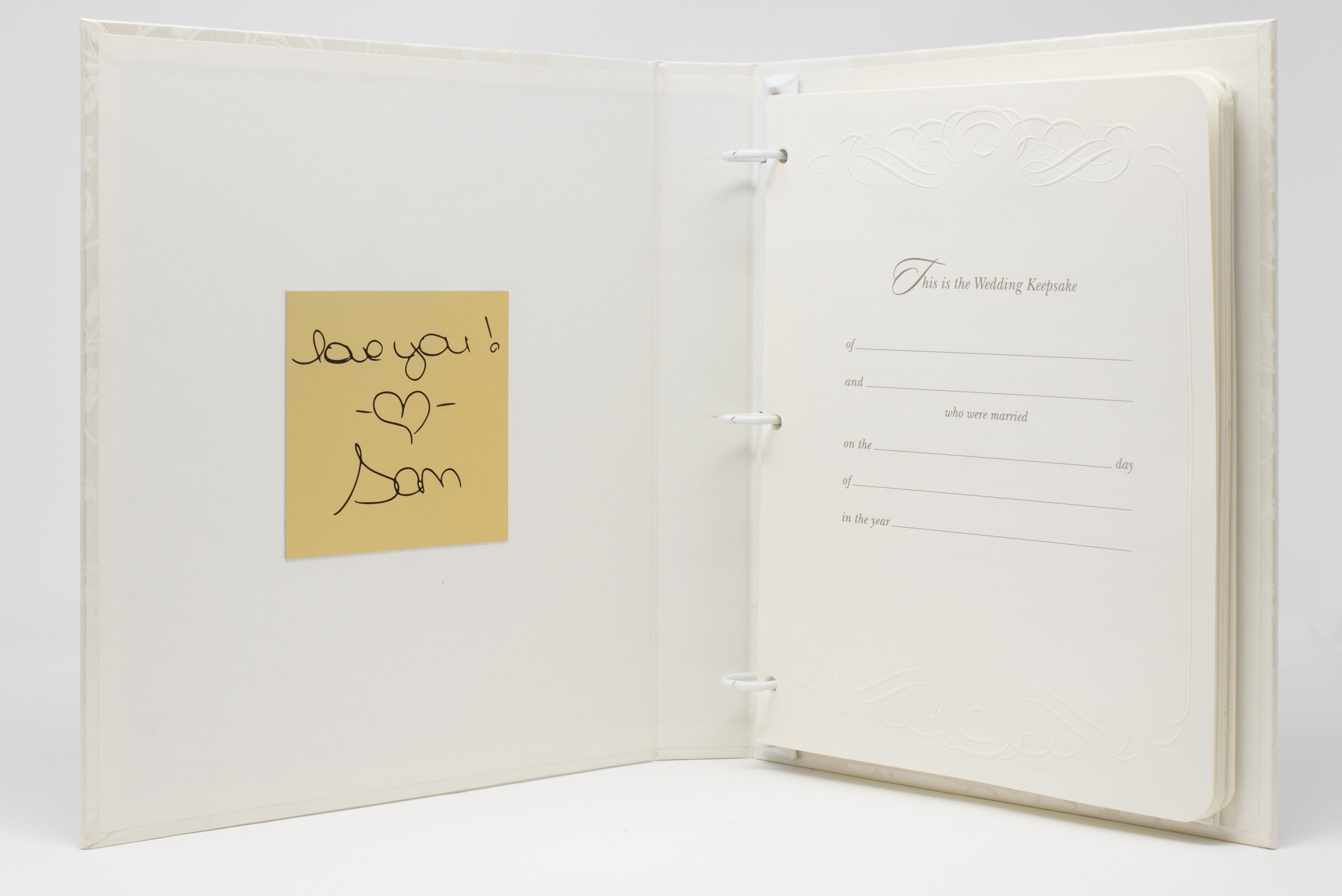 Handwriting, Permanently Engraved to Metal Plate, Affixed to Wedding Memory Book